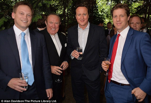 Men in power: (L-R) Grant Shapps, MP the Conservative Party chairman, Andrew Neil, David Cameron and Spectator editor Fraser Nelson caught up over some drinks