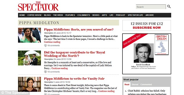 Musings: Pippa Middleton's blogs also appear on The Spectator website and they are very tongue-in-cheek