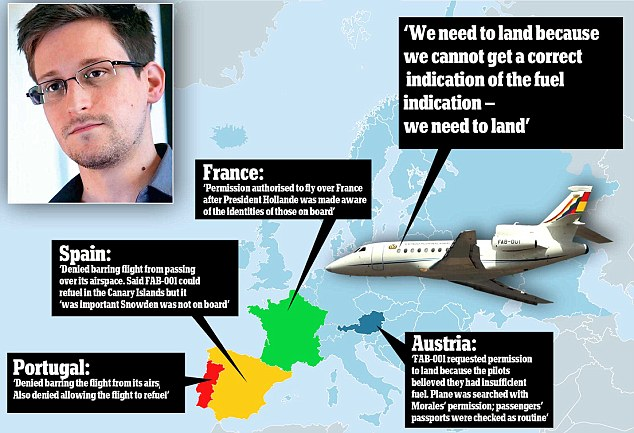 Confusion: The reason for the diverted flight path of Evo Morales's plane on Monday, which some say was suspected of carrying NSA leaker Edward Snowden, is unclear from countries' statements