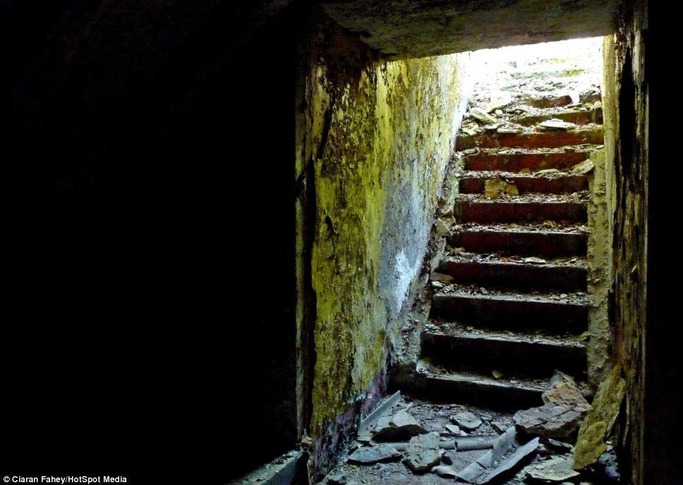 Dark: Ciaran recommends taking a torch if you are brave enough to explore the ruins of the bunker