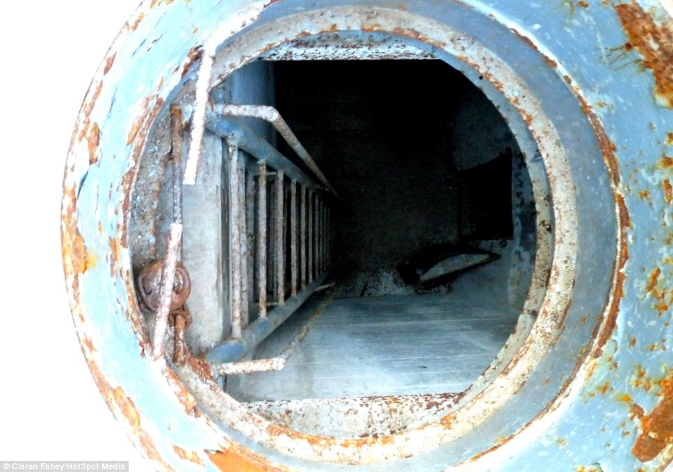 Going underground: The eerie remains of the bunker sit around 10 metres below the surface not far from Berlin