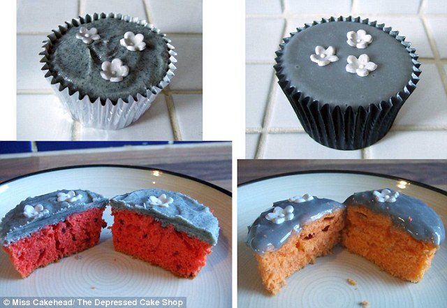 All the cakes are grey in colour to represent the greyness of depression, but other than that there are no restrictions and many cakes have bright a inside