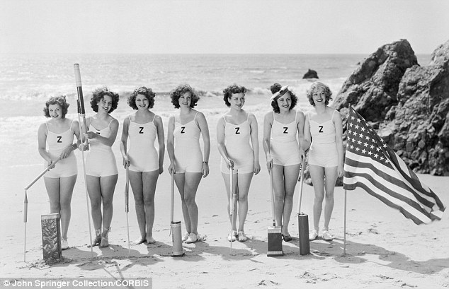 Beach party: The cast of The Great Ziegfeld soak up the sun and the sand in 1936