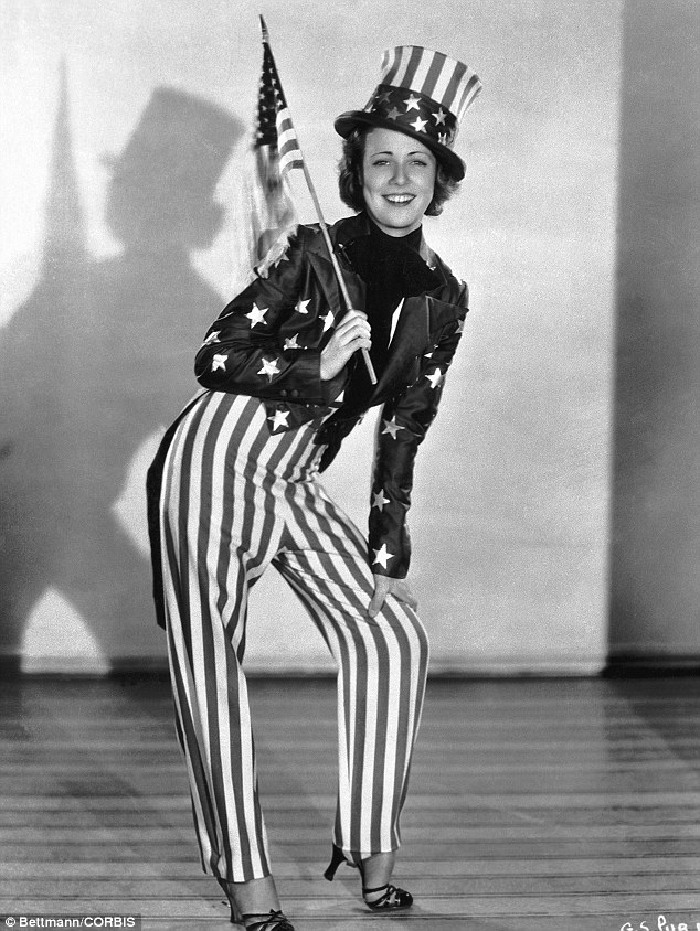 Show stopper: Silver screen star Gloria Shea appears as Uncle Sam in a West Coast celebration in 1932