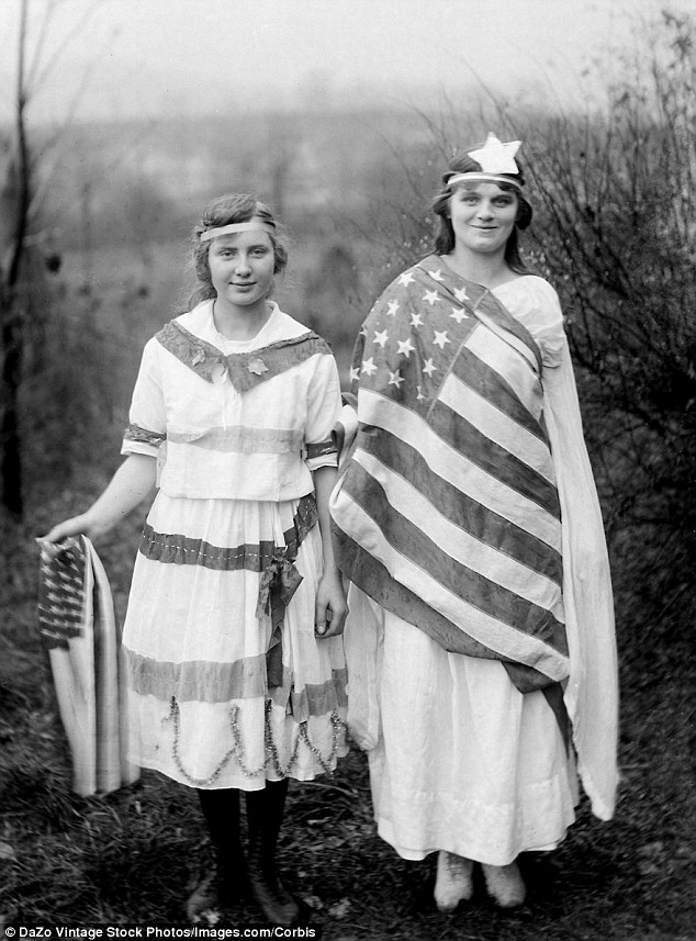 Lady liberty: Young friends add ribbons and flags to their dresses for a 1905 celebration