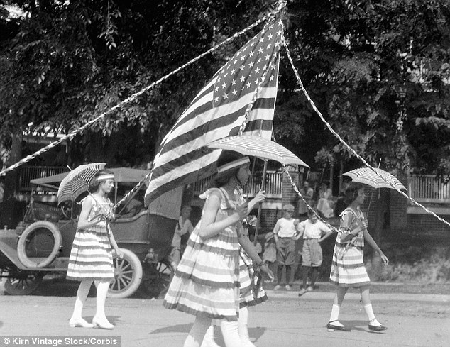 Stars and stripes: These girls turned to the flag for inspiration for their parade dresses in 1919