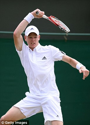 Brit special: Edmund hits a stunning forehand en route to the last four