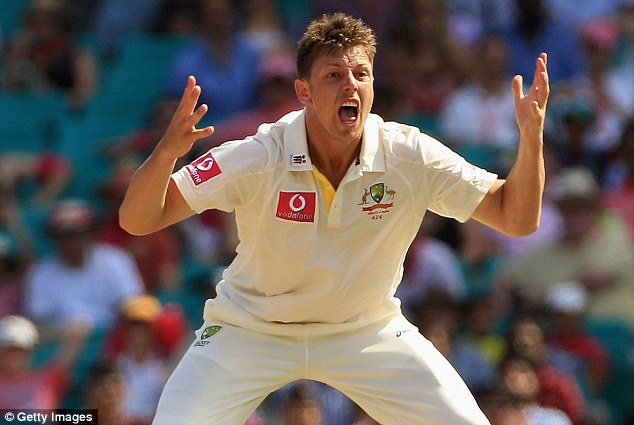 James Pattinson of Australia appeals unsuccessfully against Gautam Gambhir of India during day three of the Second Test Match