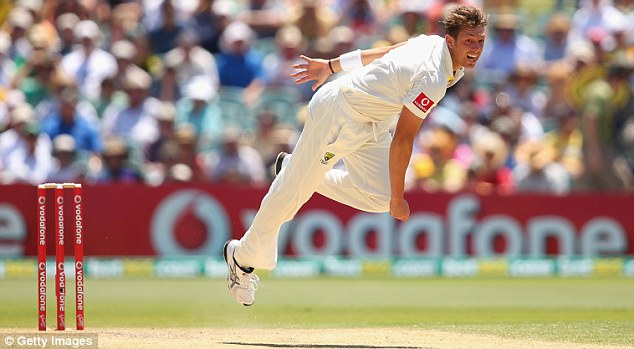 James Pattinson of Australia bowls during day two of the Second Test match between Australia and South Africa at Adelaide Oval