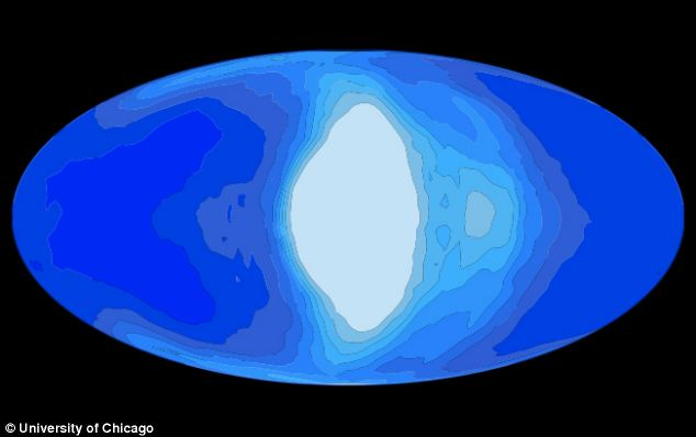 An illustration of simulated cloud coverage (white) on a tidally locked planet (blue) that would orbit a red dwarf star