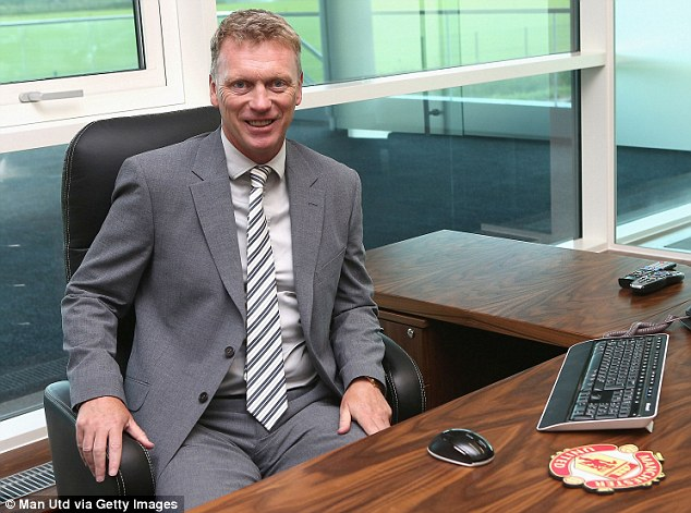Settling in: Moyes gets to grips with his surroundings earlier in the week