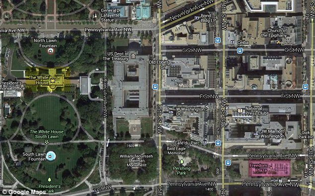 Freedom Plaza (pink), where Kokesh held and loaded his shotgun, is less than a half-mile from the White House (yellow)