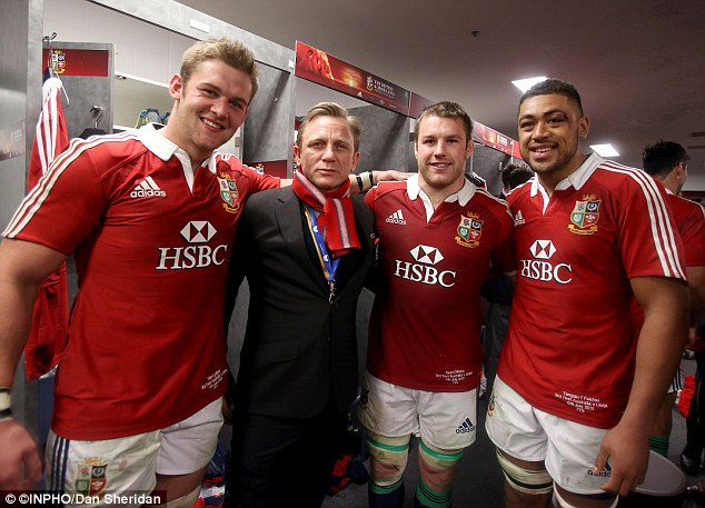 Shaken not stirred: Daniel Craig dropped in to congratulate the Lions on their achievement
