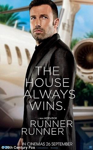 Dapper men: Ben Affleck and Justin Timberlake smoulder in black suits in poster for their new film Runner, Runner