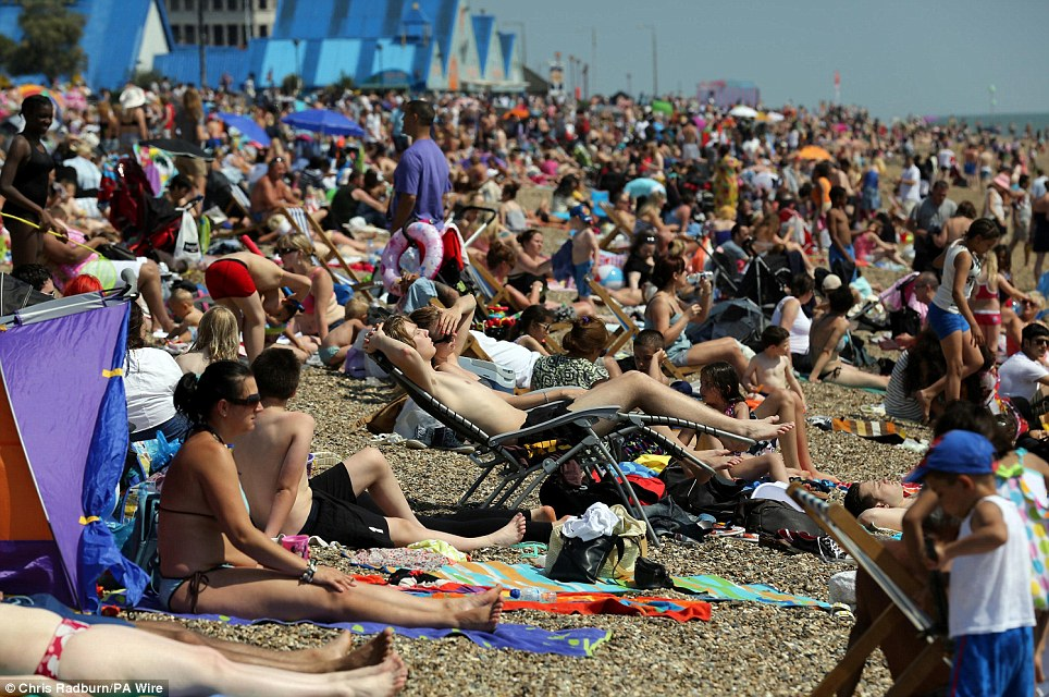 Sun worshipers pack onto the beach at South End on Sea. Tomorrow is set to be even hotter