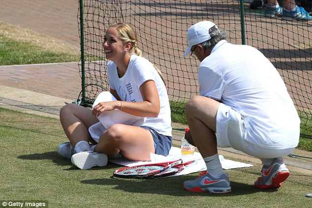 Relaxed: Sabine Lisicki was smiling, as usual, on the practice courts this morning