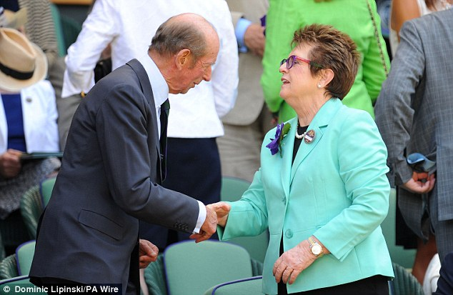 Nice to meet you: Billie Jean King greets the Duke of Kent in the Royal Box