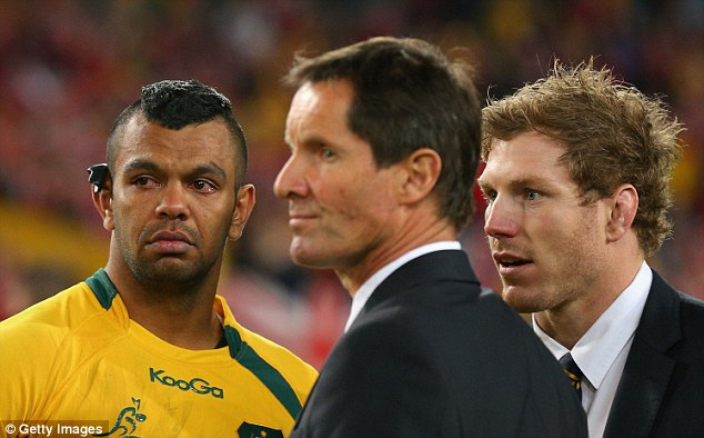 Better luck next time: A teary Kurtley Beale alongside coach Robbie Deans and injured David Pocock