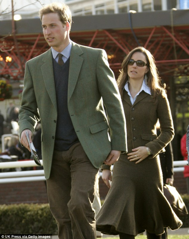 Breaking up: Dressed beyond their ages, William speeds ahead of Kate at the 2007 Cheltenham festival in March