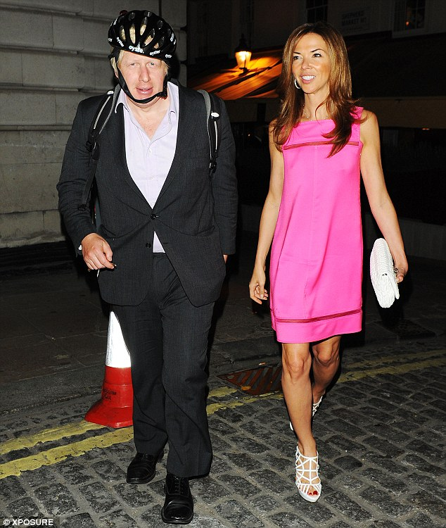 Letting the side down: Boris Johnson looks scruffy in comparison to his glam friend Heather Kerzner as they lave Loulou's in London
