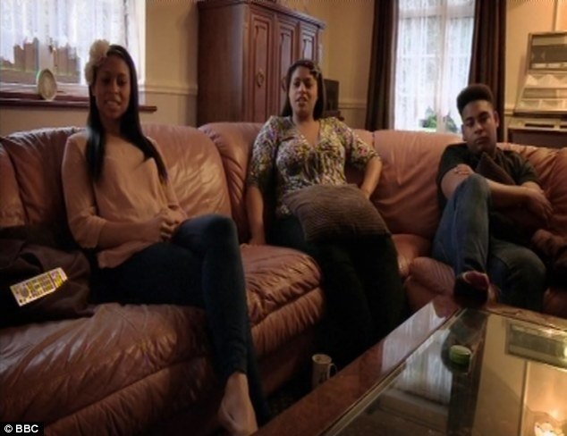 Family life: Rachel, Nicola and their brother Franklin watch home videos of themselves with their father during Rachel's documentary about living with a family member who has bi-polar disorder