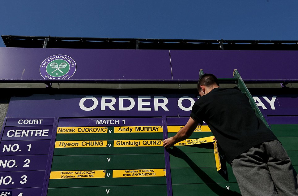 Finishing touches: The names of Serbia's Novak Djokovic and Great Britain's Andy Murray are put up on the Order of Play this morning