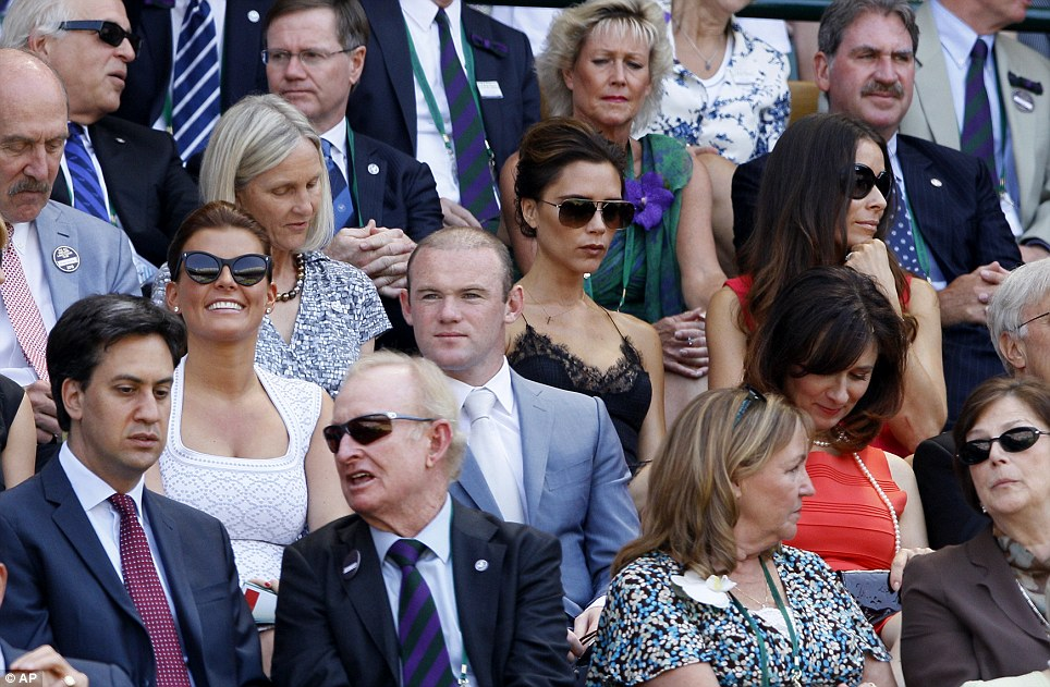 All star crowd: Ed Miliband, Rod Laver, Victoria Beckham, Wayne Rooney and his wife Coleen at the Wimbledon final yesterday