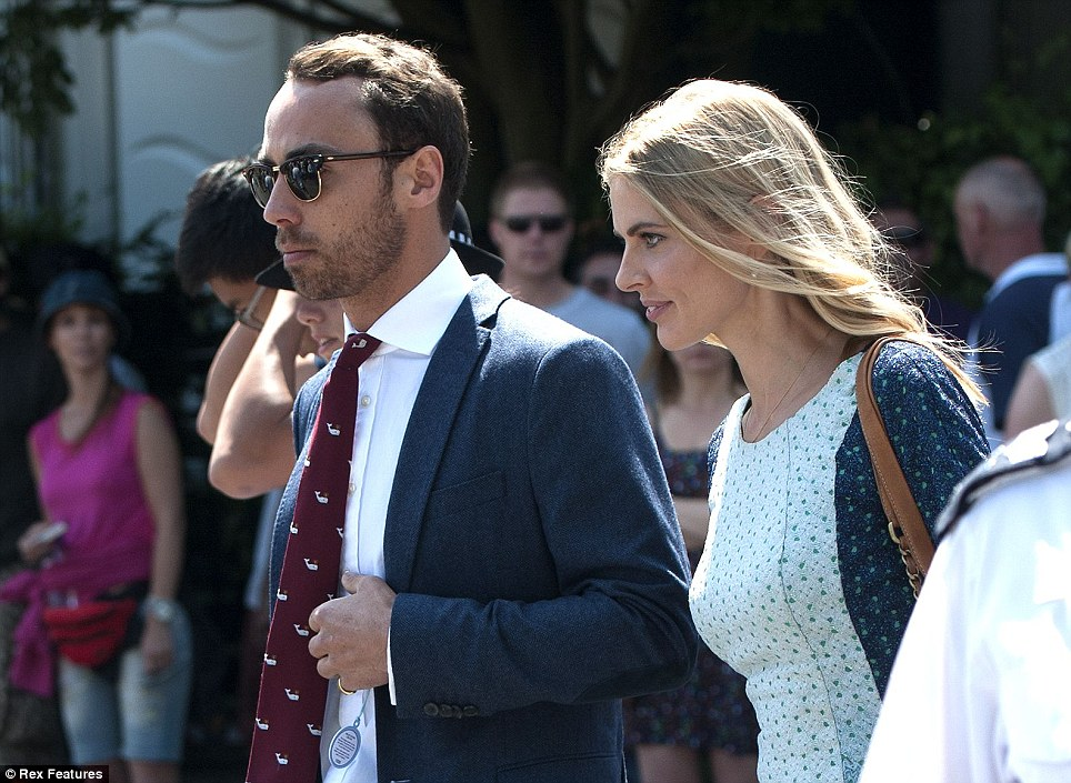 The Duchess of Cambridge's brother James Middleton, left, and Donna Air, right, arrive for the Wimbledon Men's Finals