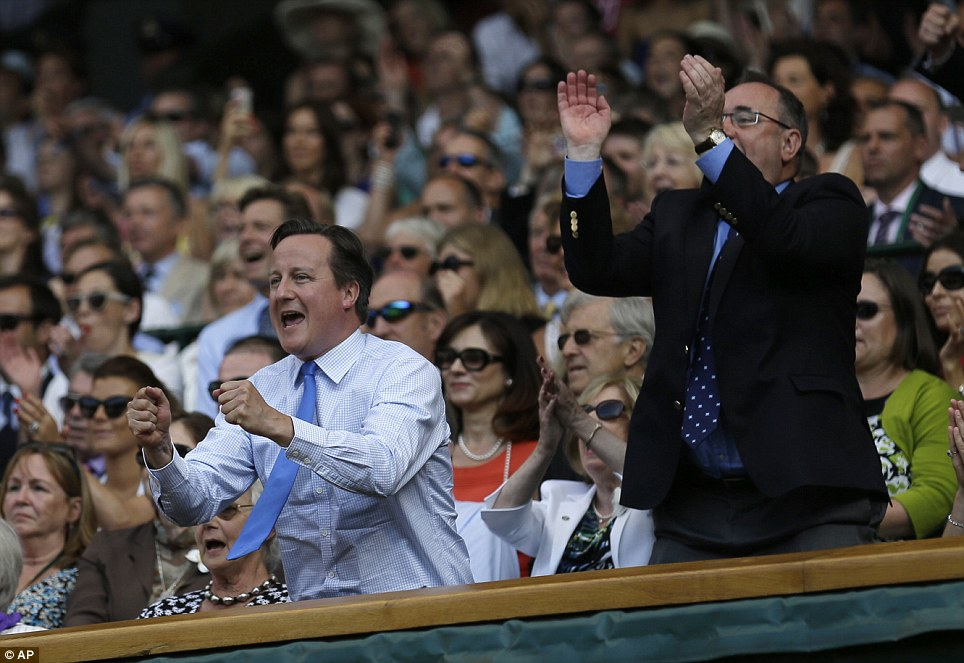 End of the 'Curse of Cameron': Murray won the match despite the attendance of David Cameron, pictured front left next to Scottish First Minister Alex Salmond, who has a reputation for jinxing British hopefuls at sporting events