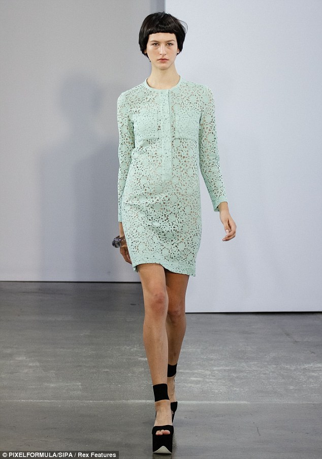 The intricate dress on the runway at Victoria by Victoria Beckham SS13 show at NY Fashion Week, Sep 2012