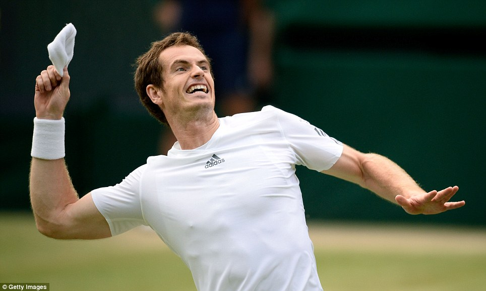 Pure belief: Murray throws his wristbands into the crowd as he knows he had just come through a massive scare against Fernando Verdasco. His five set victory again showed tremendous character as he eventually came through 4-6, 3-6, 6-1, 6-4, 7-5.