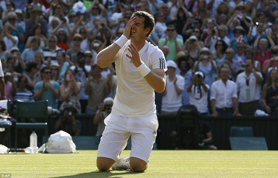 Best feeling in tennis: Murray collapses onto his knees after beating Novak Djokovic 6-4, 7-5, 6-4. It was his second grand slam title after last year's US Open and hopefully not his last.