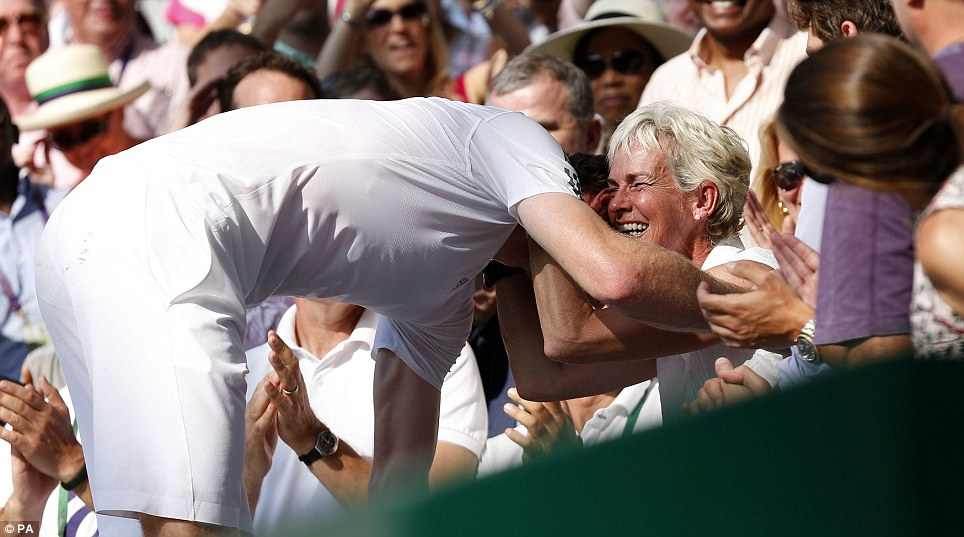 Not forgotten: Murray was about to leave the player's box before realising his mother was sobbing at the back. Having taught her son since he was a child, she is arguably his biggest tennis influence during his life.