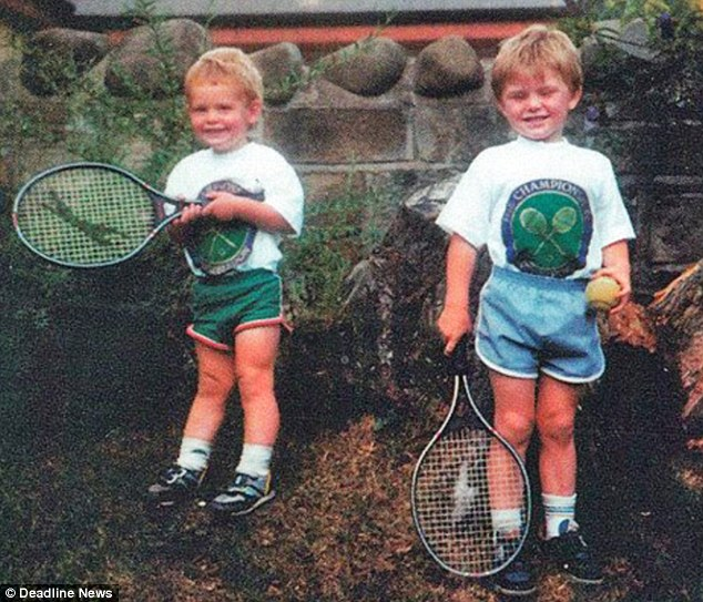 Future Wimbledon champions: Andy (left) and Jamie as taken by their mum Judy when they were young