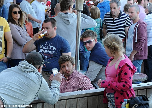 Worse for wear: Leigh Halfpenny and his Lions team-mates celebrated at a beach bar on Bondi