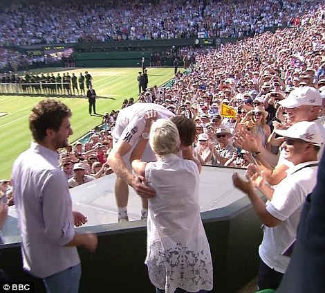 Andy Murray hugs his mother Judy Murray