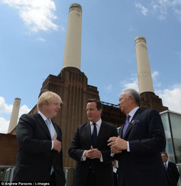Gaffe: Mr Johnson made the remark during a debate with Malaysian Prime Minister Najib Razak (right), with whom he also visited Battersea Power Station to break ground on a new development with David Cameron