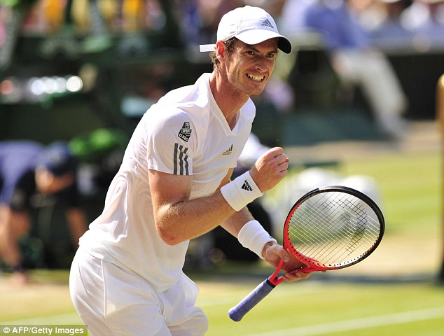 Success: Murray, 26, celebrates winning a game against Djokovic as he avenges his Wimbledon final defeat of a year ago