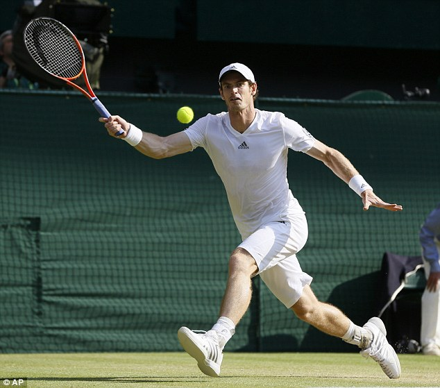 Route to victory: Andy Murray makes a forehand return to Djokovic in the men's final at Wimbledon yesterday