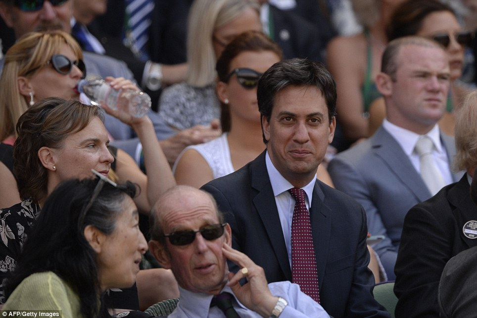 Royalty: The Duke of Kent (front) chatted with acclaimed classical musician Mitsuko Uchida, while Ed Miliband and his wife Justine Thornton watched the match from the row behind