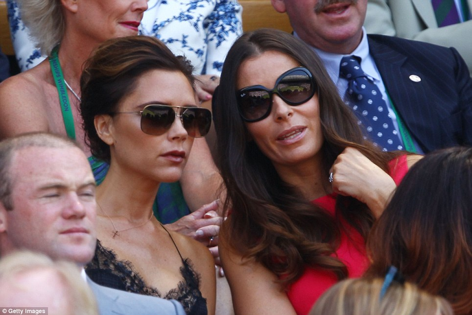 Girls' day out: Fast friends Victoria Beckham and Tana Ramsay sat side by side to watch Andy Murray storm to victory at Wimbledon yesterday