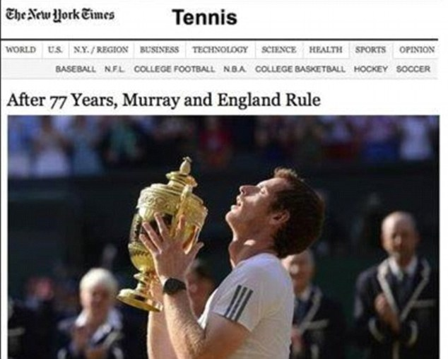 Whoops! The New York Times website made a quick amendment after mistakenly describing Murray as English
