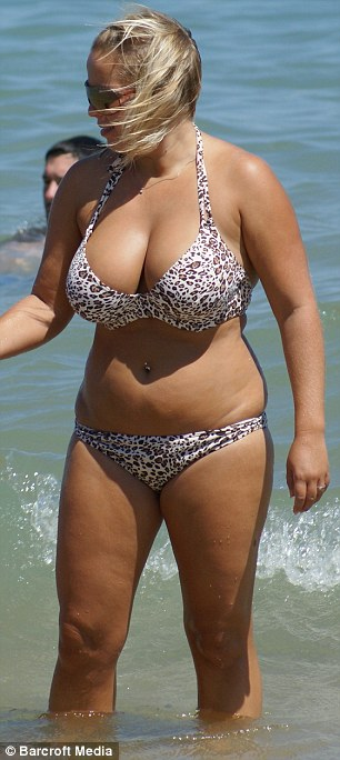 Before and after: She was originally a size 14 but was so horrified by bikini photos that she embarked on a grueling fitness programme and worked out six times a week