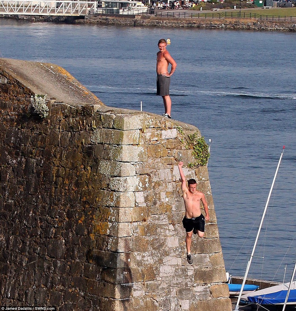 Some of the young people had been seen swilling from cans before they jumped from the harbour wall