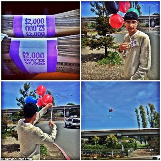 Jaw-dropping: The teenager posted a collage showing himself tying $4,000 to balloons before watching it disappear over a bridge