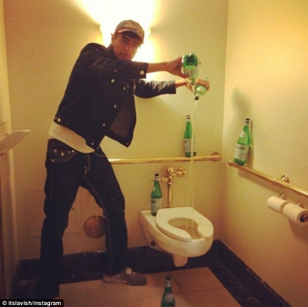 Expensive habits: Lavish claims to only go to the bathroom if the toilet is filled with sparkling water