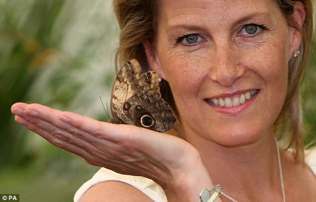The Countess of Wessex in the RHS Butterfly Dome with Eden, at the flower show in East Molesey, Surrey