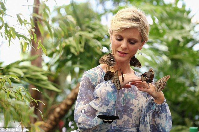 Actress Emilia Fox is surrounded by exotic butterflies in the RHS Butterfly Dome with Eden