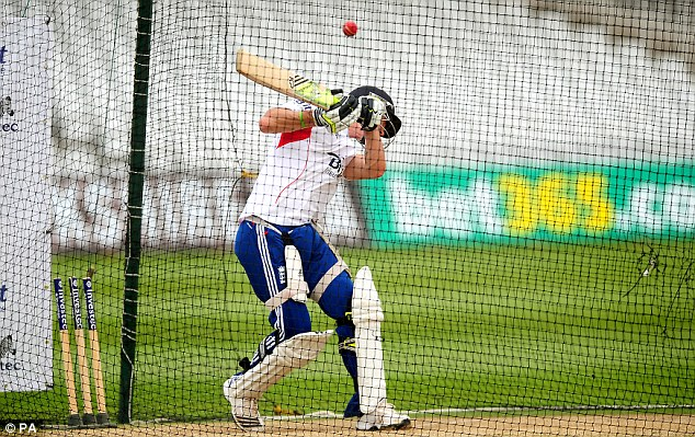 Swaying his decision: Kevin Pietersen avoids a bouncer in the nets