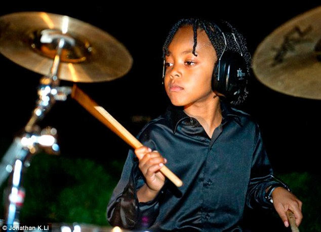 Hopes and dreams: Nine-year-old drumming prodigy Malachi Samedy is hoping that his musical talent will take him all the way to the White House